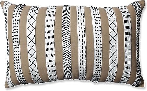 Pillow Perfect Tribal Bands Rectangular Throw Pillow, Camel Cream Black