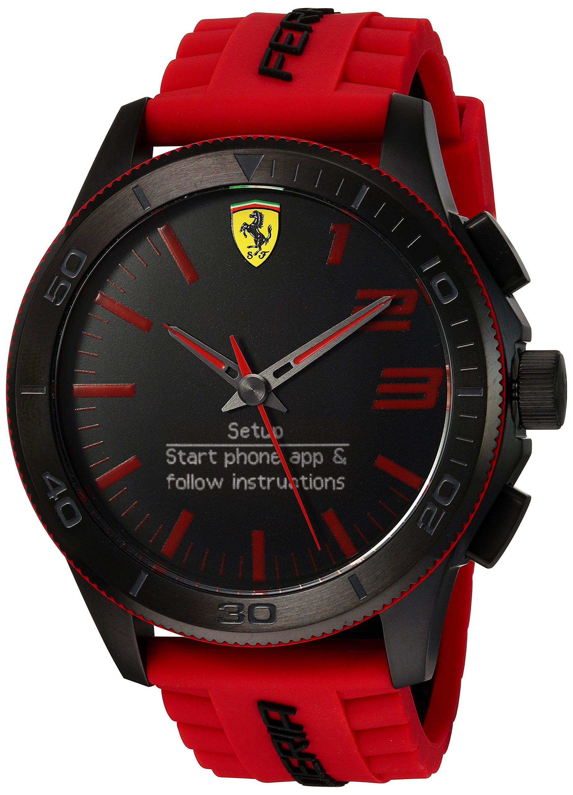 Scuderia Ferrari Men's Quartz Stainless Steel and Silicone Smart Watch, Color:Red (Model: 830376)