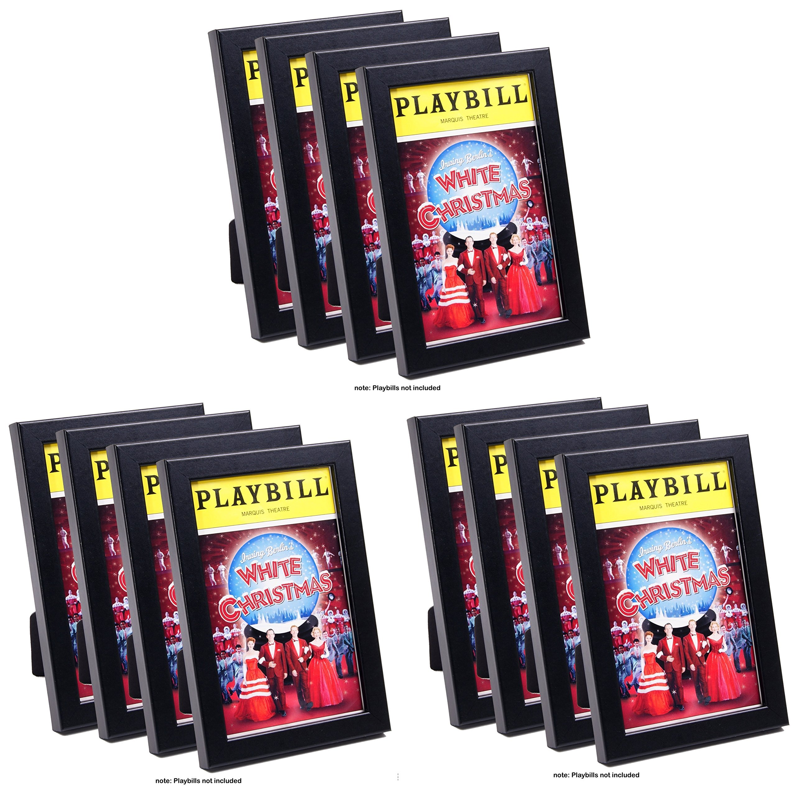 CreativePF [12pk5.5x8.5bk] Black Theatre Playbill Frame - Displays 8.5 by 5.5 inch Media Collection, Easel Stand and Wall Hanger Included (12- Pack) by Creative Picture Frames
