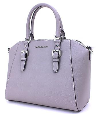 fc36df9fe616 Amazon.com: Michael Kors Ciara Large Top Zip Satchel Leather (Pearl Grey):  Clothing