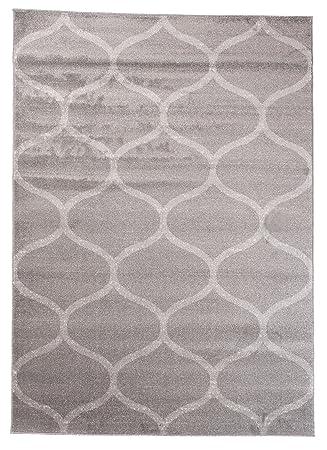 Amazon.de: Teppich Wohnzimmer Grau 160 x 220 cm Designer Teppich ...