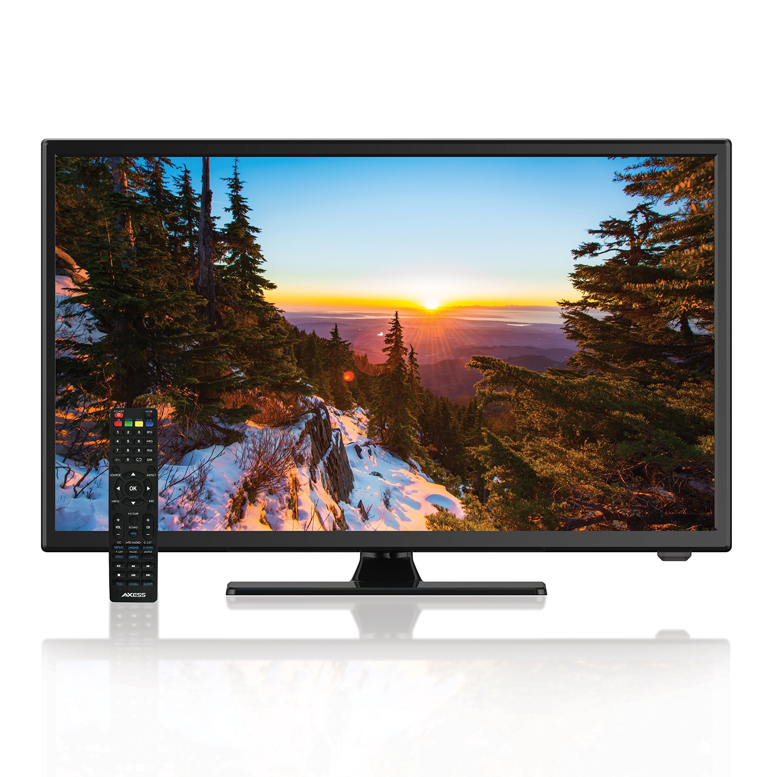AXESS TVD1805-22 22-Inch 1080p LED HDTV, Features 12V Car Cord Technology, VGA/HDMI/USB Inputs, Built-in DVD Player, Full Function Remote
