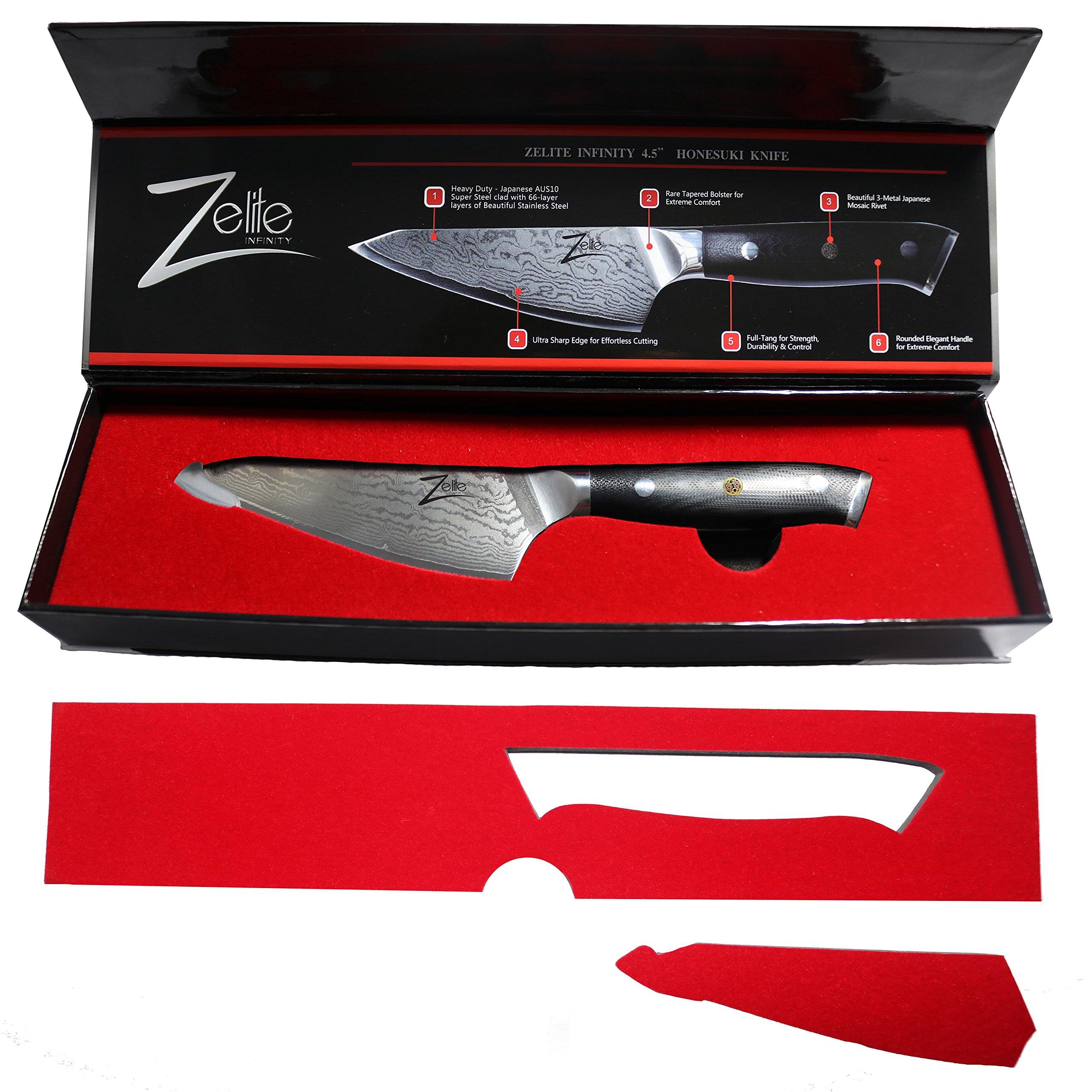 ZELITE INFINITY Honesuki Knife 4.5 inch - Alpha-Royal Series - Best Quality Japanese AUS10 Super Steel 67 Layer Damascus - Razor Sharp, Deep Blade, Versatile Boning Knives Specifically for Chicken by Zelite Infinity (Image #2)