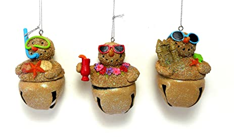 beach themed snowmen bell christmas ornaments set of 3