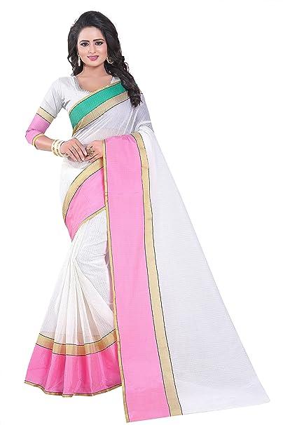 92c65a34b6f78b J B Fashion Women s with Blouse Piece Saree (SAREE FOR WOMEN-MP-2 Pink Free  Size