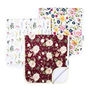 """Baby Burp Cloth Large Absorbent 3-Pack Gift Set Girl """"Scarlet"""" by Copper Pearl"""