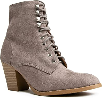 block lace up boots