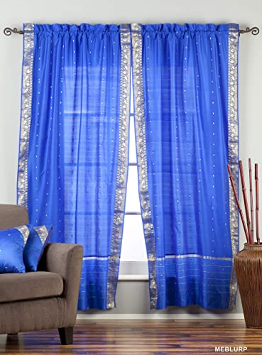 Lined-Enchanting Blue 84-inch Rod Pocket Sheer Sari Curtain Panel India -Piece