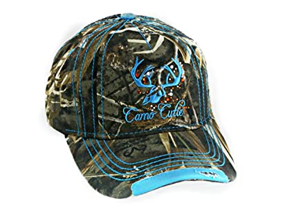Camo Cutie Womens Realtree Camo Cap with Blue Trim and logo Plus Free Gift 8f65021eb063