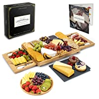 Smirly Cheese Board and Knife Set - Charcuterie Board/Organic Bamboo Cheese Platter with Accessories Drawer, 4PC Cheese Knife Set and 3x Sauce Dish Dip Bowls. Wedding Gifts, Housewarming Gifts.
