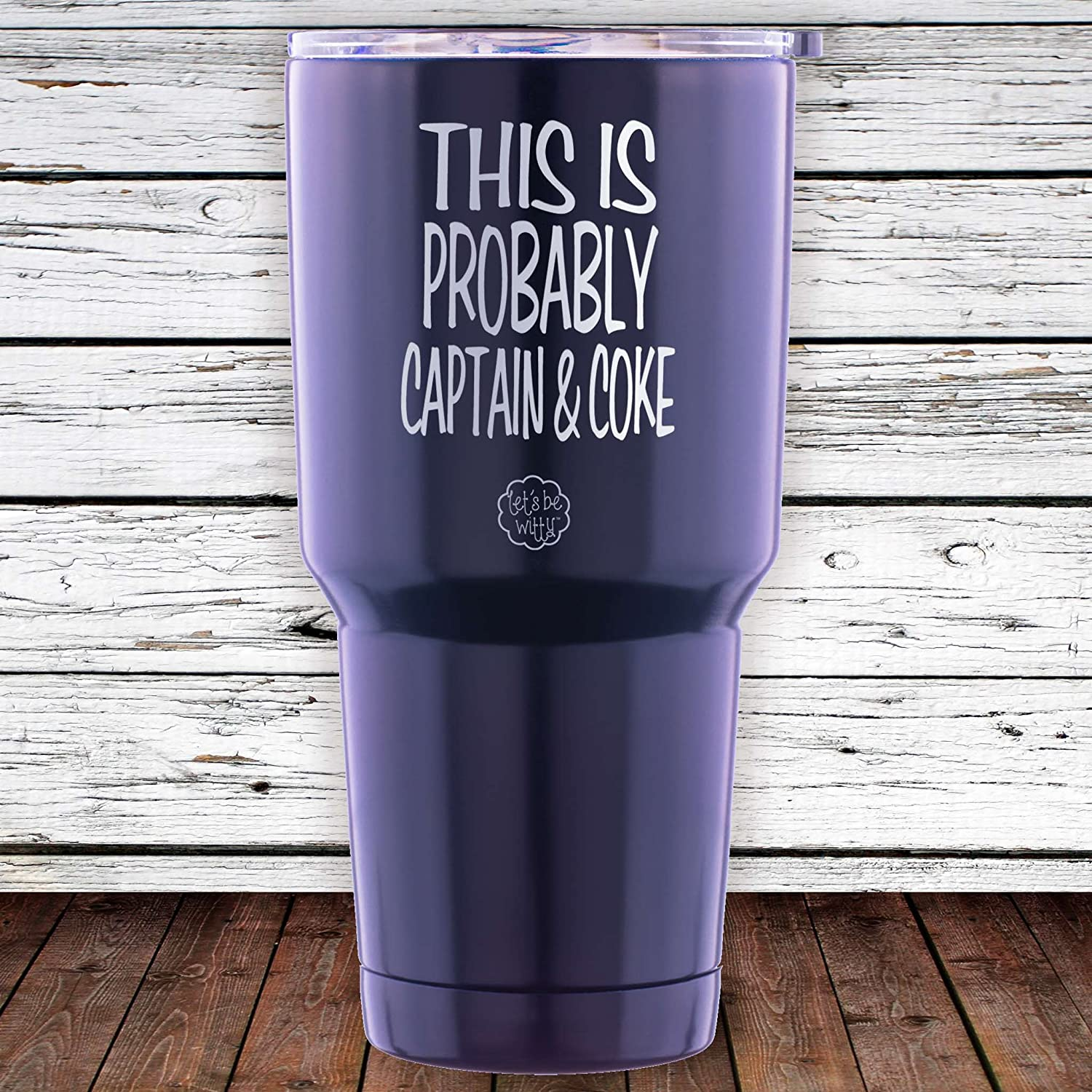 ad9159d1daf This is Probably Captain & Coke Stainless Steel Tumbler with Lid - Large 30  oz Vacuum Insulated Travel Mug - Funny Tumblers for Hot Coffee and Cold  Drinks ...