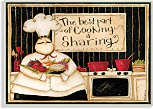 Stupell Industries Cooking is Sharing Phrase Vintage Hefty Kitchen Chef, Design by Dan DiPaolo Wall Plaque, 13 x 19, Tan