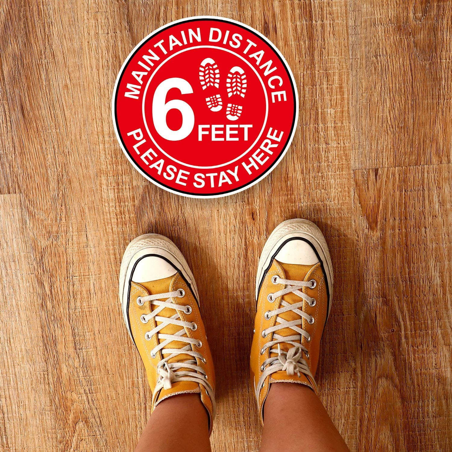 Supermarket Stand Decal 9 Safety Maintain 6 Feet Floor Sign Marker/Stay Here Floor Label for Crowd Guidance Control Bank Blue, White 6 Feet Stickers Social Distancing Floor Decal Stickers