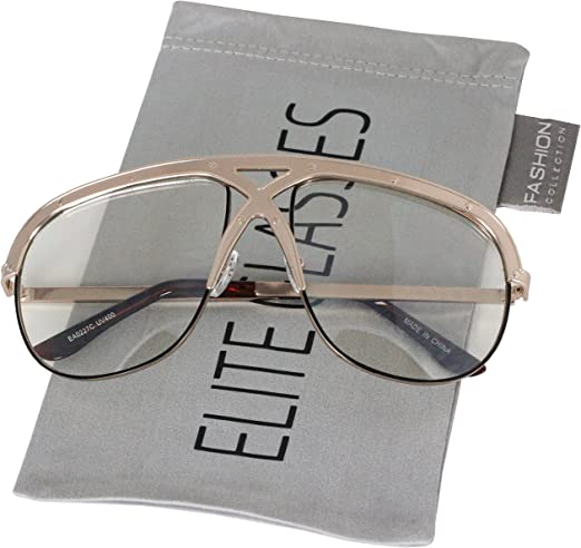 XL Vintage Retro Oversized FULL Metal Aviator Clear Lens Mens Womens Sunglasses