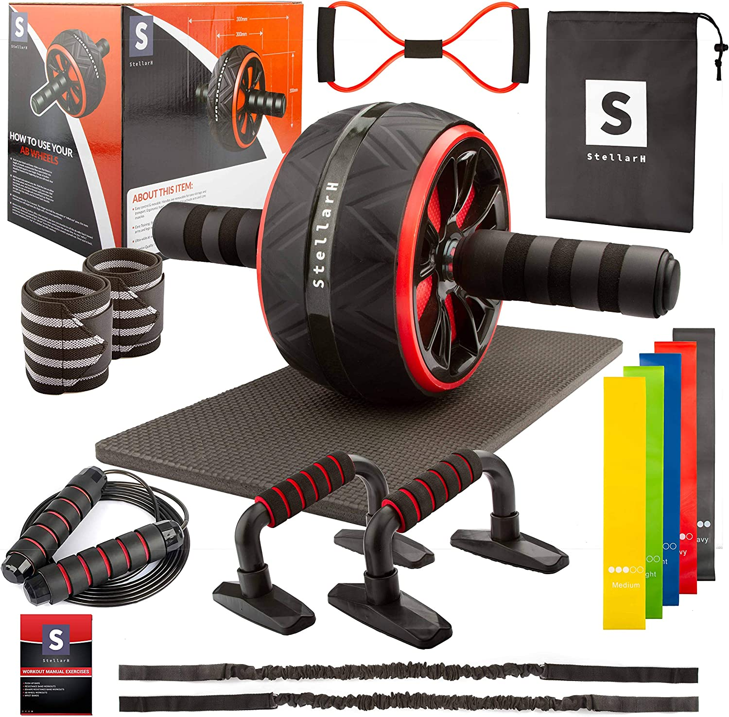 STELLARH Ab Roller Wheel 17-in-1 Ab Exercise Wheels Kit at Home Gym Set with 7 Resistance Bands, 8 Shape Band, Push Up Bars, Jump Rope & 100+ Exercises Poster[Upgraded]