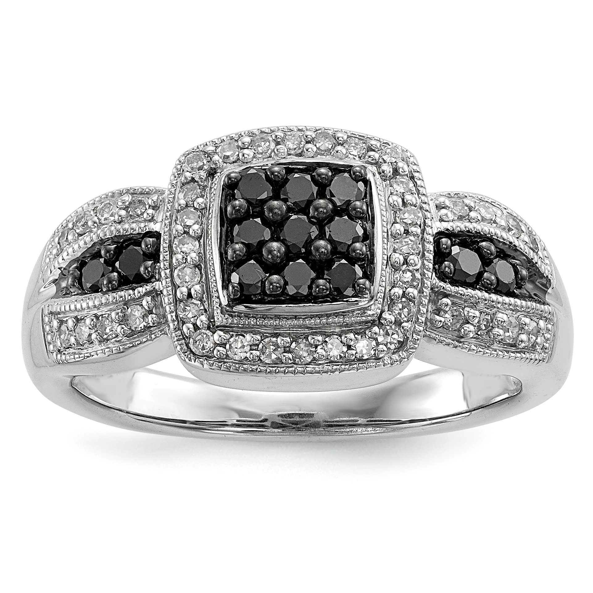 ICE CARATS 925 Sterling Silver Black Diamond Square Band Ring Size 7.00 Fine Jewelry Gift Set For Women Heart