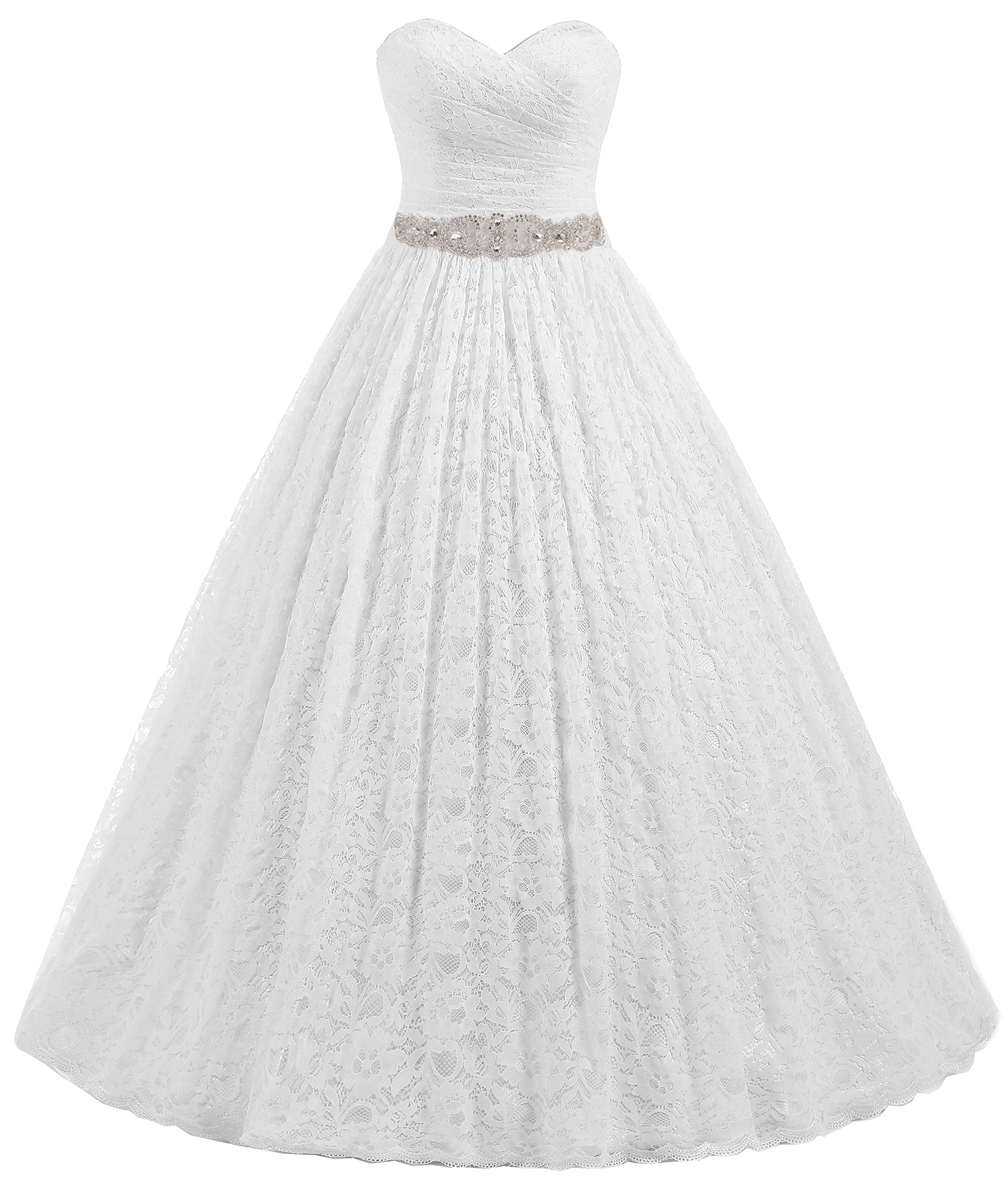Beautyprom Women's Sweetheart Ball Gown Lace Bridal Wedding Dresses (US14, Ivory) by Beautyprom