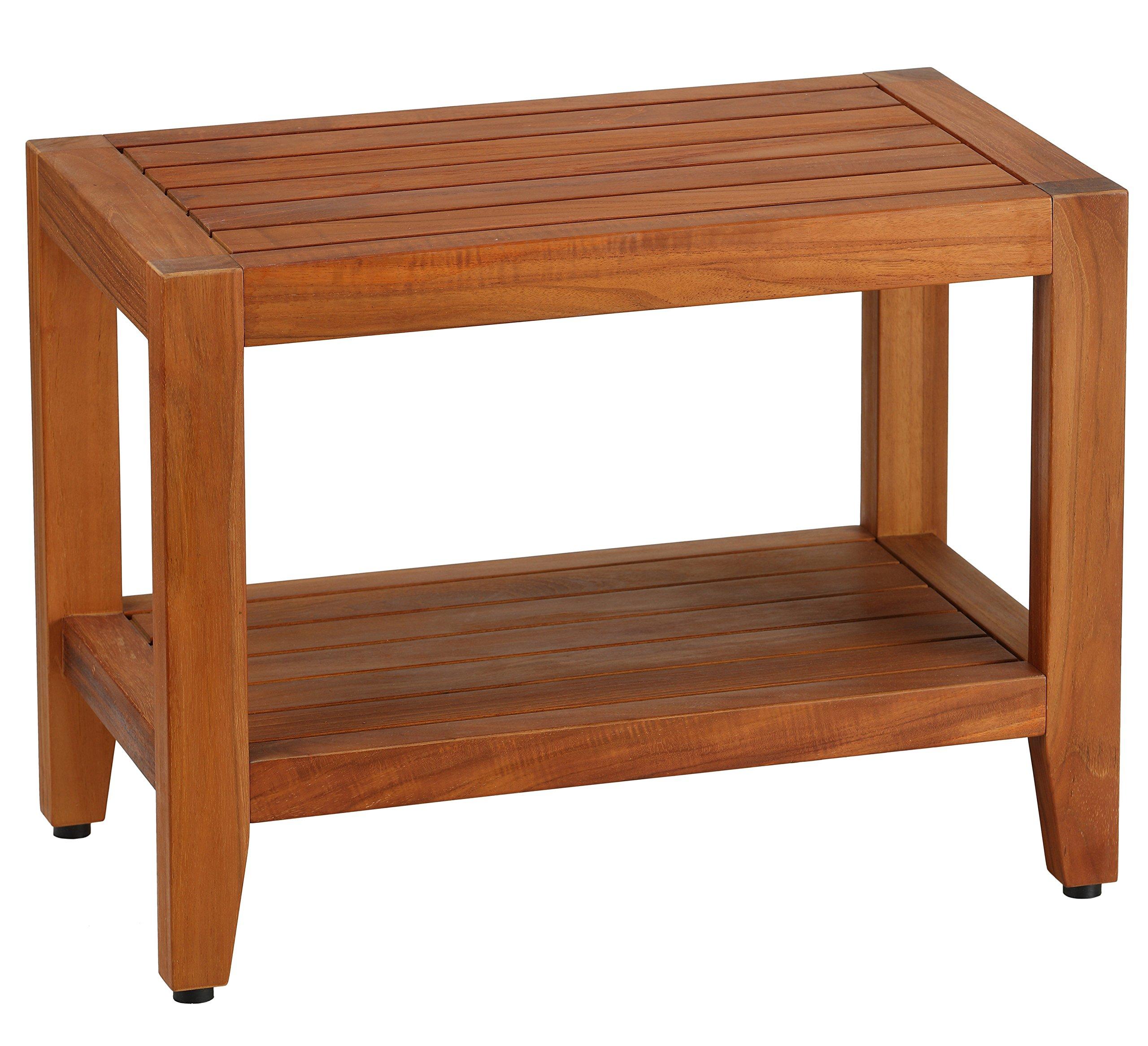 Bare Decor Teak Serenity Spa 24'' Bench with Shelf
