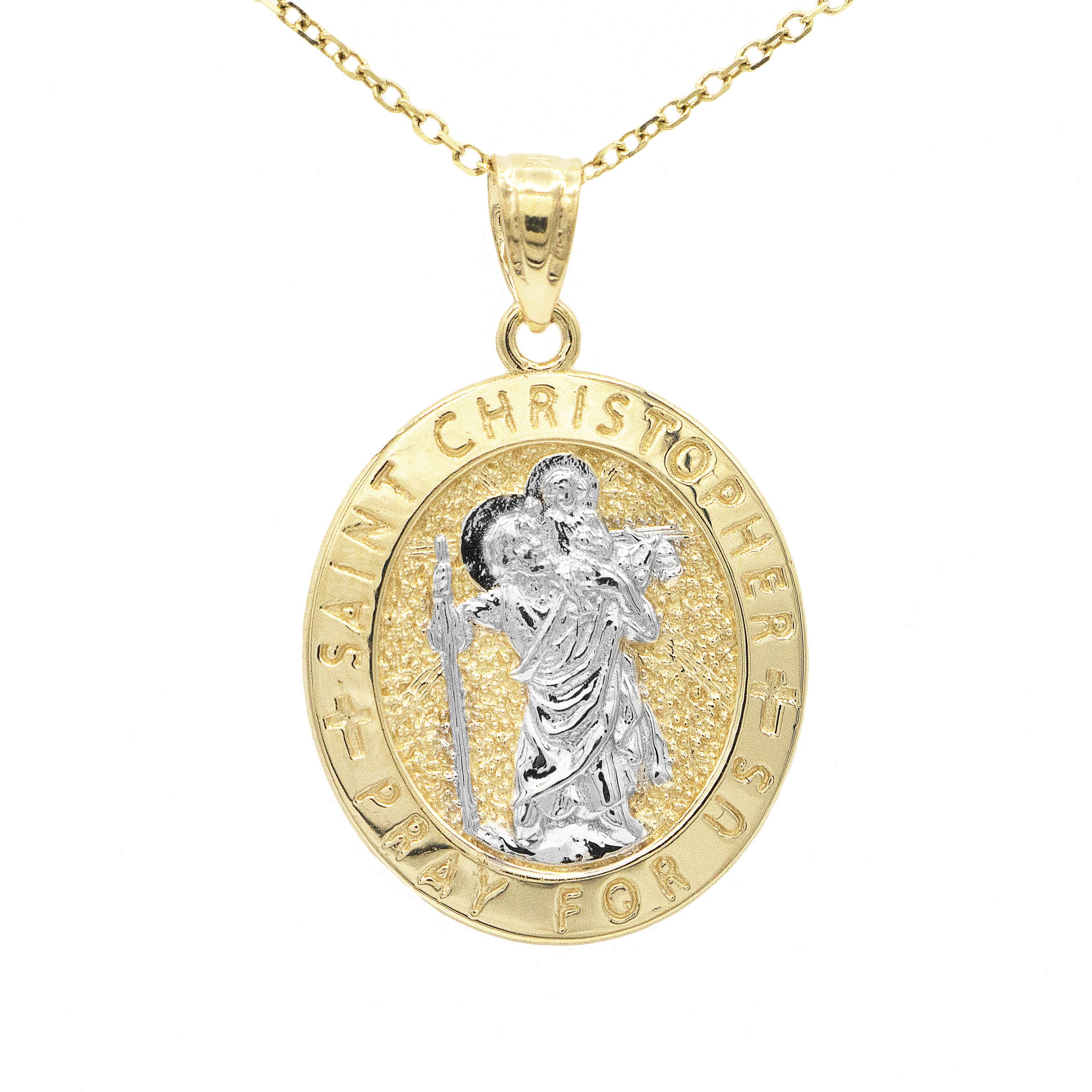 10k Solid Gold Oval Two Tone Saint Christopher Pray For Us Medallion Necklace (20'' Mariner Chain Dipped in Holy Water)