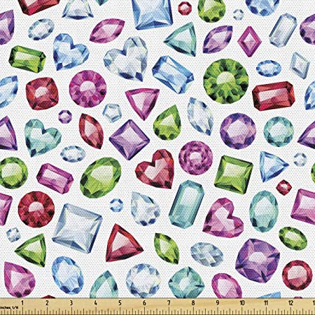 Ambesonne Diamond Fabric By The Yard Heart Geometric Shaped Colorful Little Diamonds Precious Gemstones Crystals Pattern Decorative Fabric For Upholstery And Home Accents Multicolor