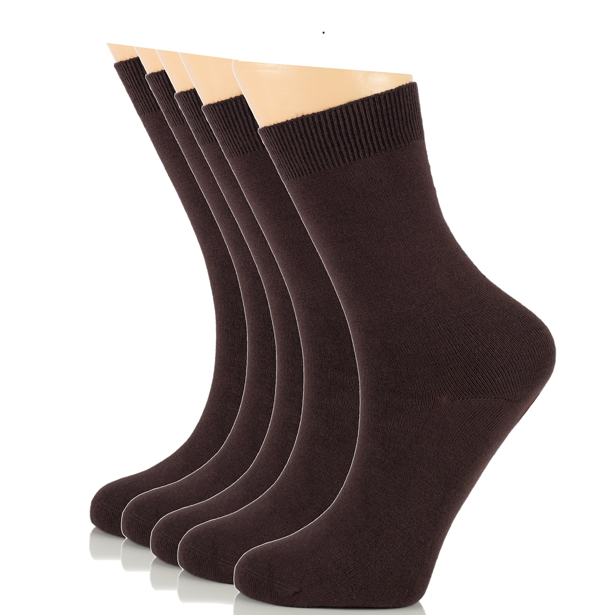 Elite Women's Business Casual Bamboo Socks, Crew Size (5 Pairs, European Product, Brown)