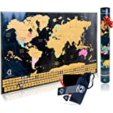 Clever Indoor Scratch Off World Map Poster - Decorative Travel Tracker map with United States outlined and Country Flags, Bright and Vibrant Colors. Perfect Traveler Gift. Includes Scratch Pen set.