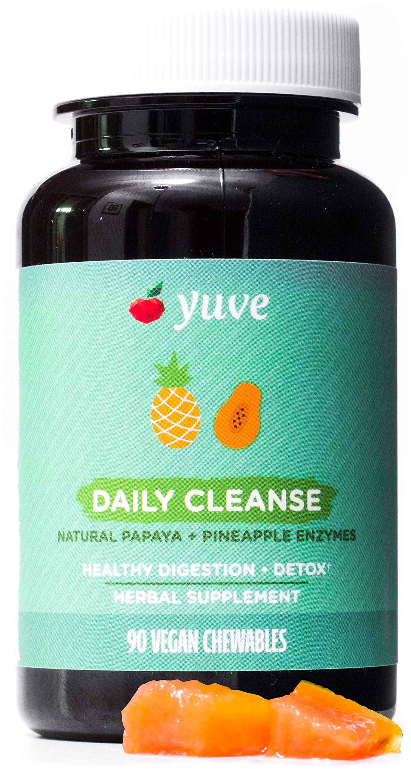 Yuve Natural Papaya Digestive Enzymes - Sugar-Free Chewable Candies - Promotes Better Digestion - Constipation & Bloating Aid, Detox, Leaky Gut Repair & Gas Relief - Vegan, Non-GMO, Gluten-Free - 90ct by Yuve
