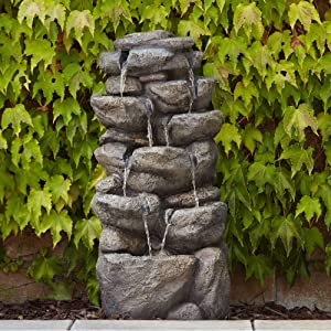 "John Timberland Rocks Cascade Rustic Outdoor Floor Water Fountain 39"" High Waterfall for Yard Garden Patio Deck Home"