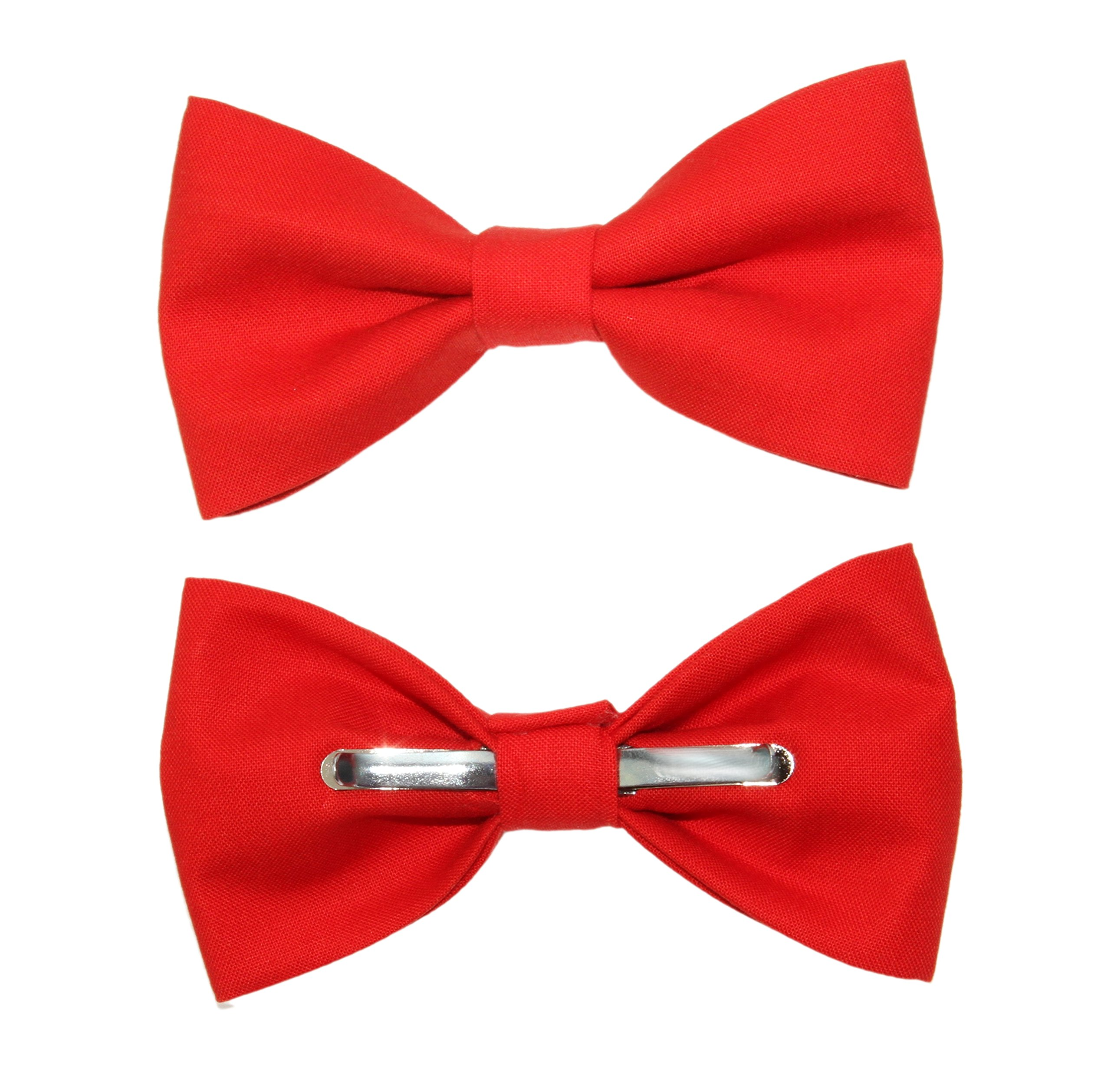amy2004marie Men's Tomato Red Clip On Cotton Bow Tie Bowtie