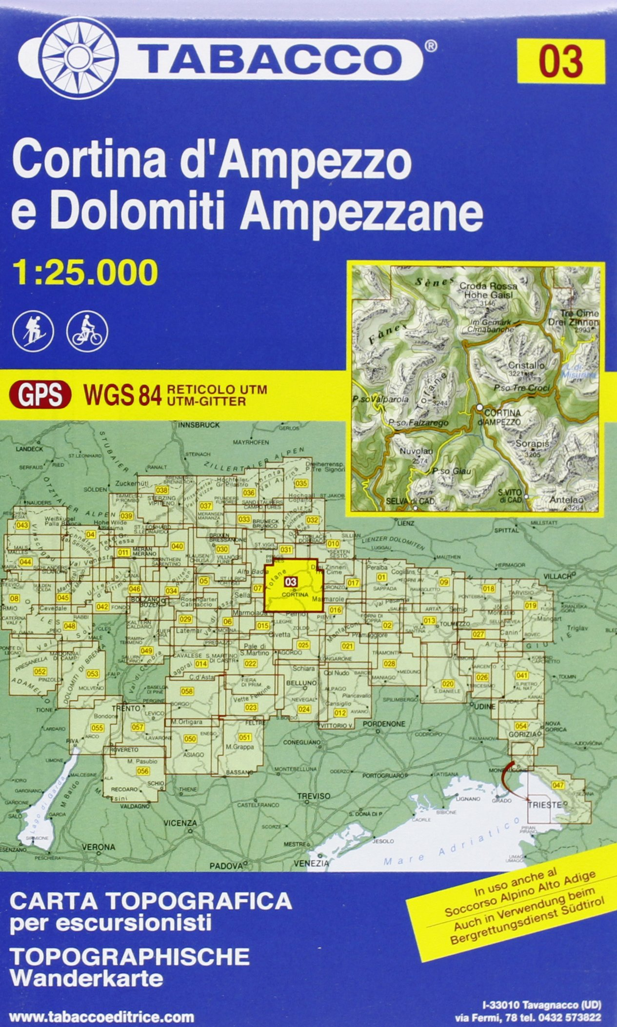 CORTINA D'AMPEZZO E DOLOMITI AMPEZZANE 03 (Italien) Carte – Carte pliée, 2011 TABACCO 8883150031 Karten / Stadtpläne / Europa Italy