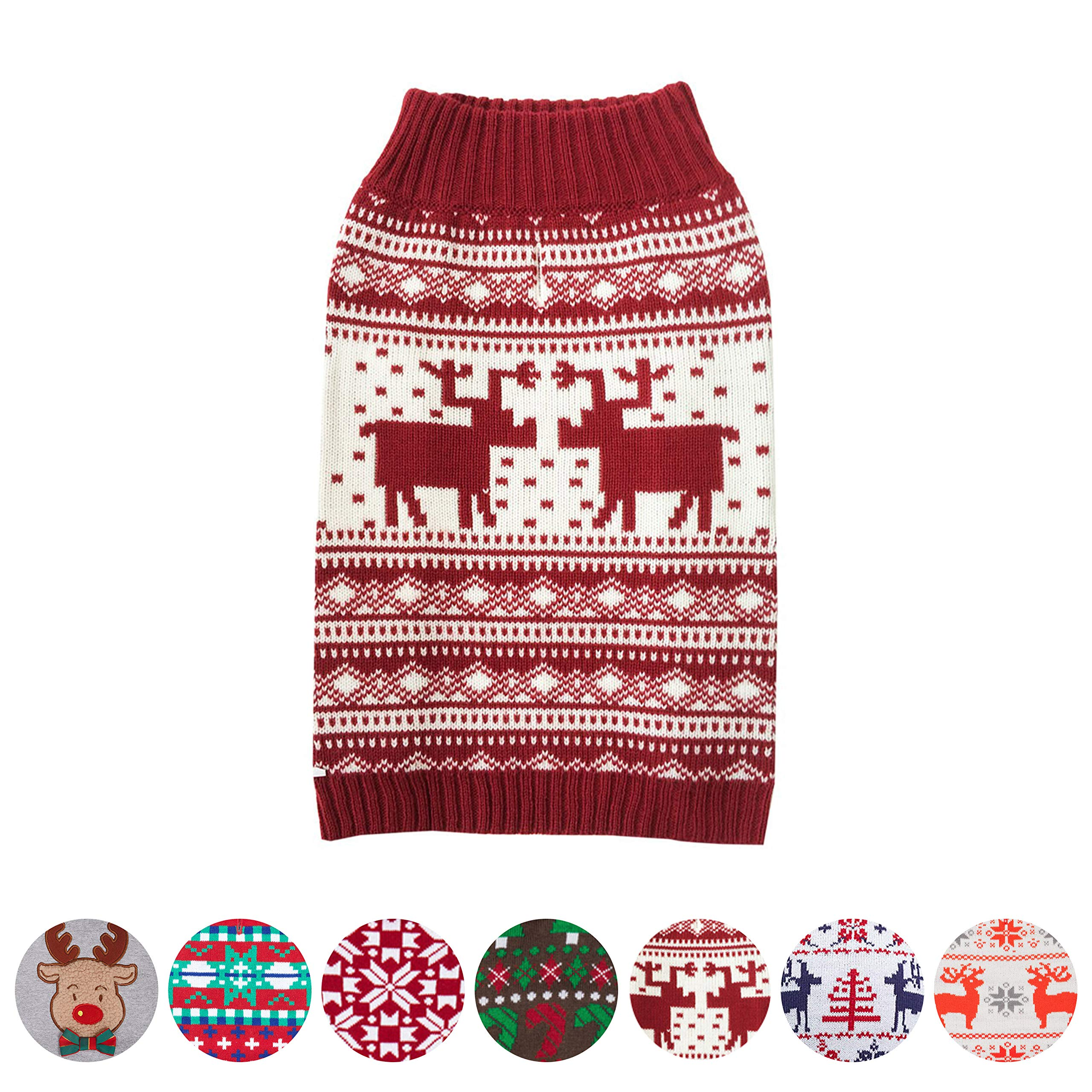 Blueberry Pet 6 Patterns Vintage Festive Red Ugly Christmas Reindeer Holiday Festive Dog Sweater, Back Length 14'', Pack of 1 Clothes for Dogs