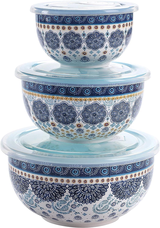 Bico Blue Talavera Ceramic Bowl with Air Tight Lid Set of 3(27oz, 18oz, 9oz each), Prep bowls, Food Storage Bowl for Salad, Snacks, Fruits, Microwave and Dishwasher Safe