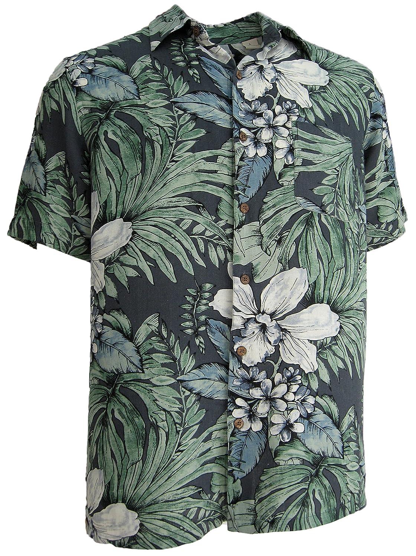1950s Style Mens Shirts Mens Silk Camp Shirt Grey Hawaiian Cool Casual Floral Aloha $34.99 AT vintagedancer.com