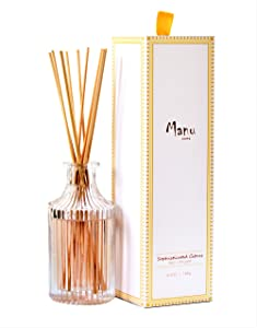 Manu Home Sophisticated Citrus Reed Diffuser Set~ Scent Features effervescent Citrus top Notes and an Aromatic Blend of Sweet Cyclamen Infused with a Finishing Touch of Amber. Made in USA!