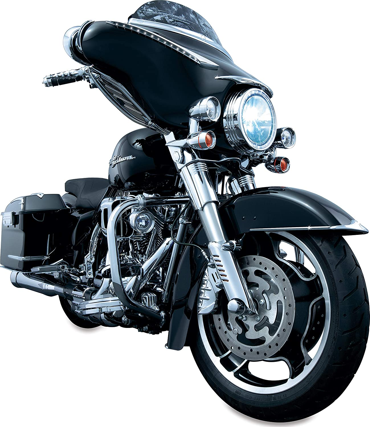 Gloss Black Kuryakyn 7209 Motorcycle Accent Accessory Lower Fork Leg Deflector Shields with Fender Boss Covers for 2000-13 Harley-Davidson Motorcycles 1 Pair