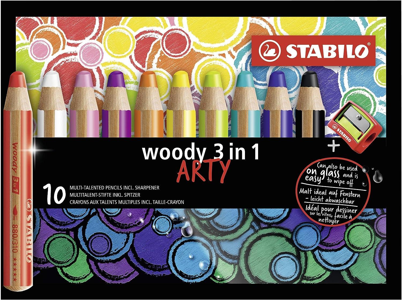Lápiz de color multitalento STABILO woody 3 en 1 ARTY - Estuche con 10 colores y sacapuntas