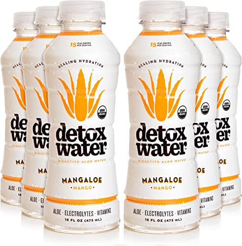 Detoxwater Prebiotic Aloe Water – Mangaloe Mango 16 Fluid Ounces, Pack of 6