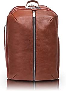 """McKlein Englewood, Pebble Grain Calfskin Leather, 17"""" Leather, Triple Compartment, Carry-All, Laptop & Tablet Weekend Backpack, Brown (18894)"""