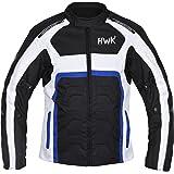 HWK Textile Motorcycle Jacket Motorbike Jacket Biker Riding Jacket Cordura Waterproof CE Armoured Breathable Reissa Membrane - Removable Thermal lining - 1 YEAR WARRANTY!! (Small, Blue)