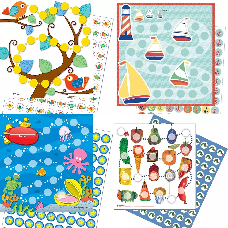 By Diana 4 x Kinder Belohnungssysteme ( Segelboote, Raupe, Vögel und Unterwasser) Kindererziehung Lernziele mit Vielen Aufklebern
