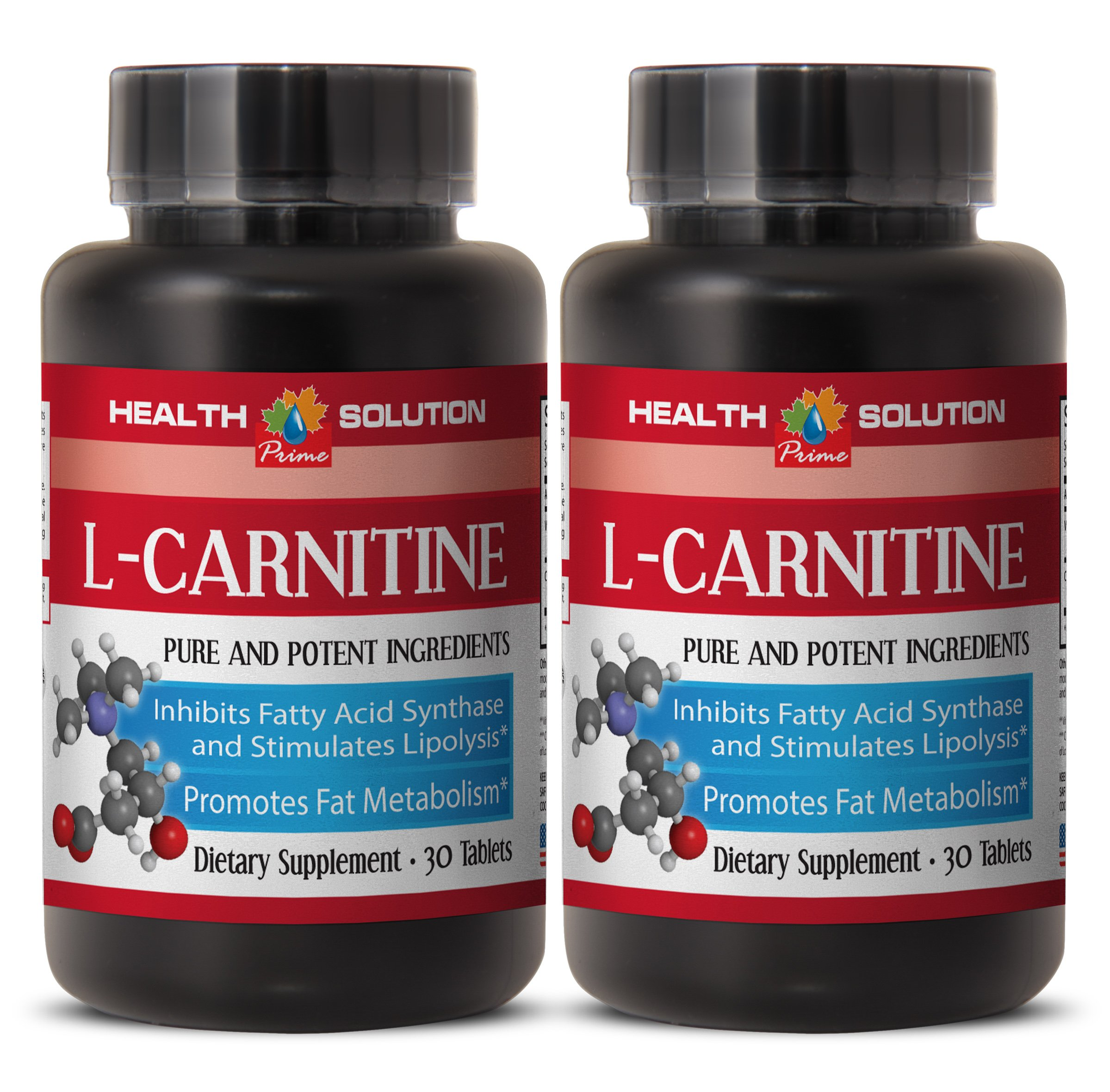 Fat loss diet - NATURAL L-CARNITINE 500MG - Carnitine metabolism - 2 Bottle (60 Tablets) by Health Solution Prime