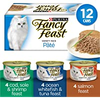 Fancy Feast Wet Cat Food, Seafood Supper Pâté Variety Pack 85 g Cans (12 Pack)