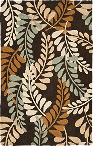 Safavieh Modern Art Collection MDA625A Handmade Contemporary Foliage Brown and Multi Polyester 8 x 10 Area Rug