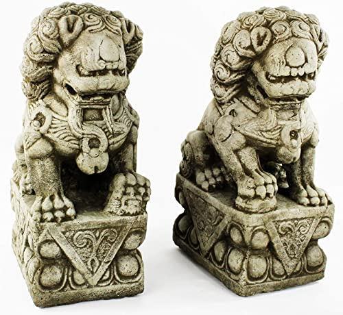 Foo Dog Pair Garden Statues Concrete Asian Sculpture