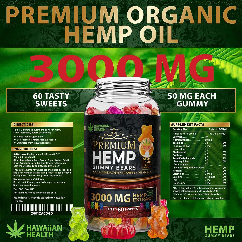 Hemp Gummies Premium 3000 Milligram High Potency  50 Per Fruity Gummy Bear with Organic Hemp Oil