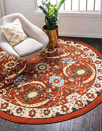 Unique Loom Espahan Collection Classic Traditional Terracotta Round Rug 8 0 x 8 0