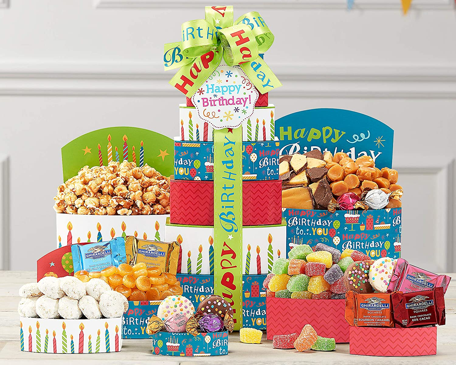 Amazon Best Wishes Happy Birthday Present Gift Tower Grocery Gourmet Food