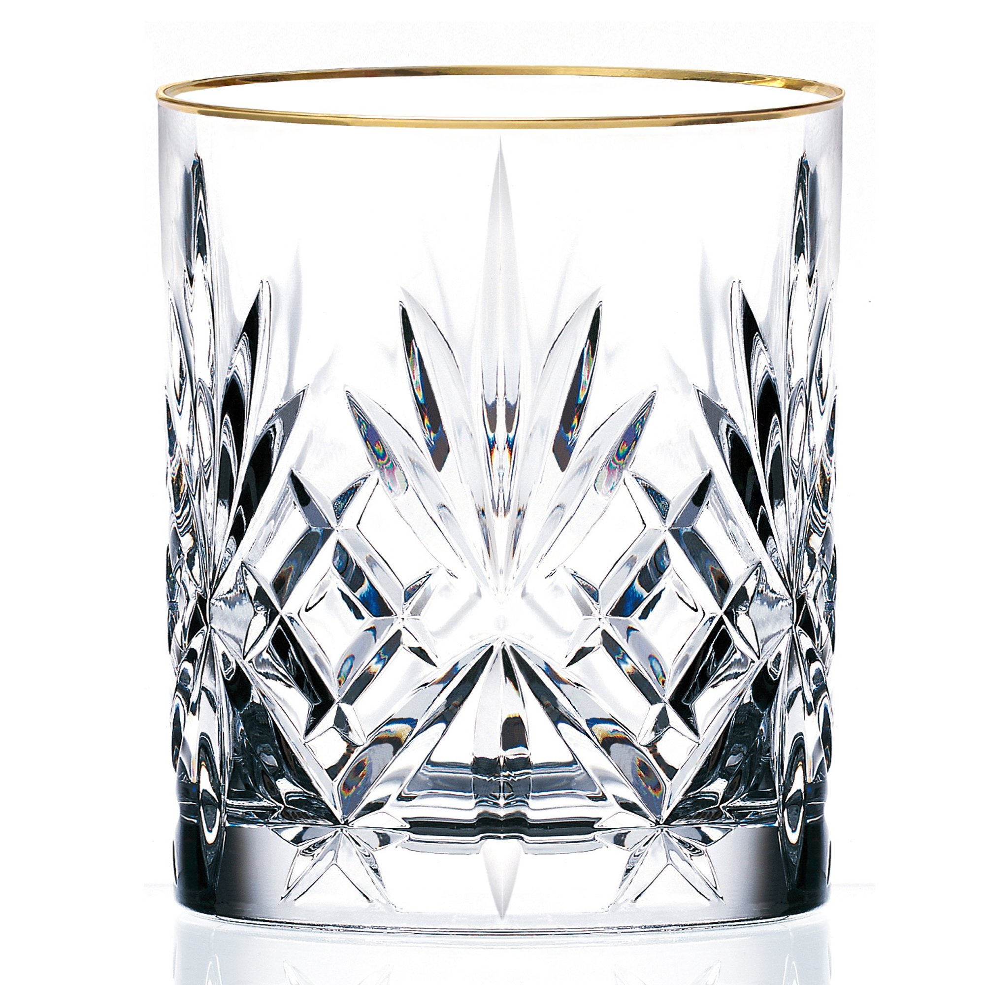 Lorren Home Trends Siena Collection Crystal Double Old Fashion Beverage Glass with Gold Band Design, Set of 4