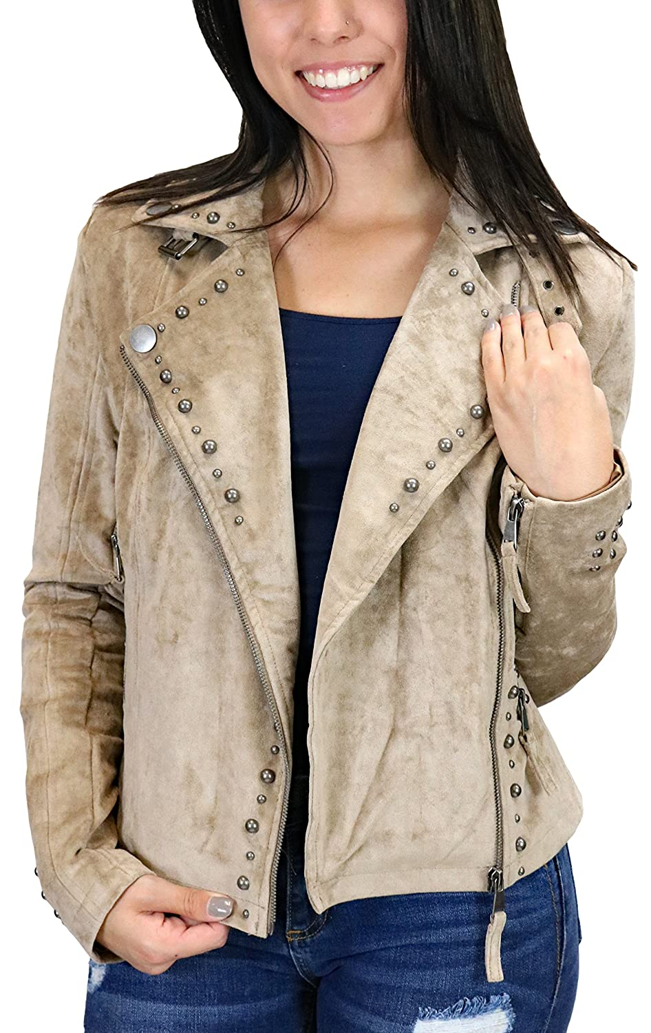 Miss Me MDJ446L Taupe Beige Faux Suede Studded Moto Jacket