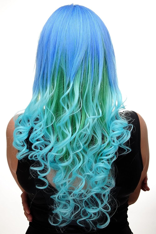 WIG ME UP- peluca de mujer cosplay azul turquesa verde mezcla pelo muy largo (65 cm) rizos GF-W2174-G55A